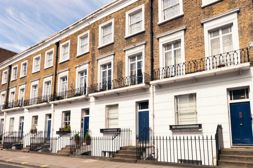 A row of houses situated in London